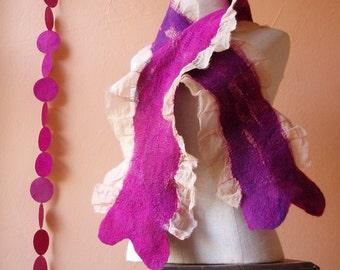 SALE Nuno Felt Scarf . Purple and Magenta