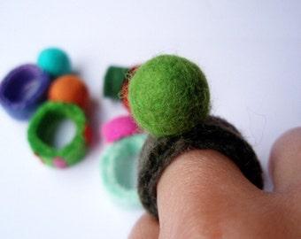 Felted Ballie Bling Ring . Olive Green