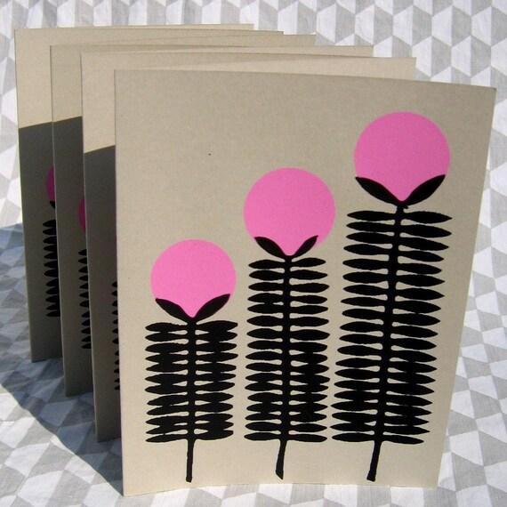 tall pink flower card 4 pack