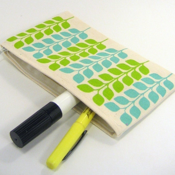Sprout - canvas zipper pouch in green and blue