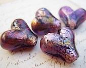 Purple Lampwork Heart Beads - B-6269
