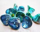 Metallic Blue Peacock Flower Beads - 6375