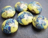 Yellow. Blue and Gold Lampwork Beads - B-6630