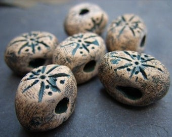 Primative Clay Beads with a Forest Green Design - B-6260