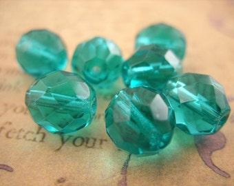Emerald Green Czech Crystal Beads - 10 MM - B-6288