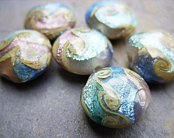Lampwork Beads in Blue, Mauve and Taupe - B-6648