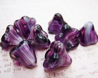 Amethyst and White Large Bell Flowers - 13x11MM - B-6460