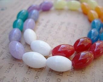 Multi-Colored Agate Barrel-Shaped Beads - One Strand - B-6316