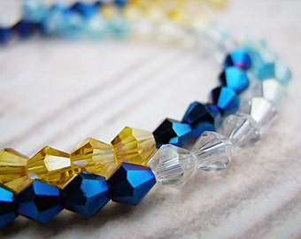 Czech Bicone Crystal Beads - 4MM - Cobalt, Light Blue, Yellow and Clear Crystal - One Strand - B-5948