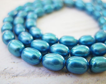 Bright Blue Rice-Shaped Freshwater Pearls - One Strand - B-6459