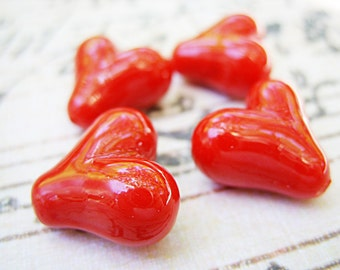 Red Lampwork Heart Beads - B-6605