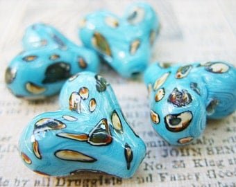 Blue Lampwork Heart Beads with Dots/Spots - B-6388
