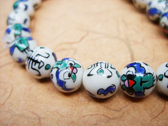 12MM Porcelain Glass Beads - Asian Design - One Strand - B-5913