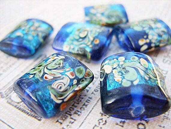 Brilliant Blue Lampwork Beads - Last Set - B-6436