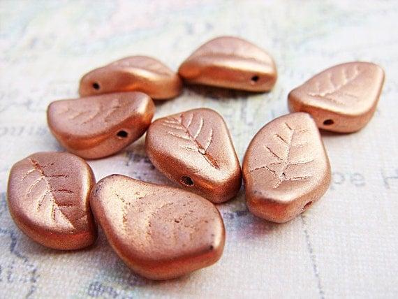 Matte Copper Leaf Beads - B-6255
