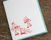 Letterpress Card and Envelope - Retro Boys and Sailboats