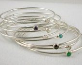 Gemstone and Sterling Bangles