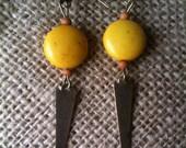 Steel Point Drop Yellow Earrings