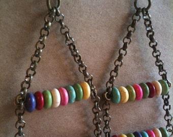 Rainbow Earrings Double Tier Brassy Dangles