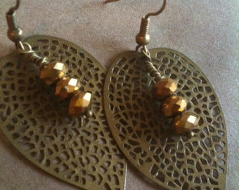 Caramel Crystal Antiqued Brass Leaf Dangle Earrings