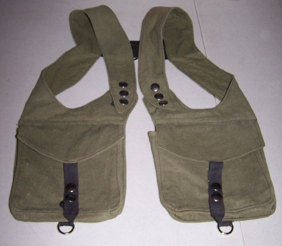 DW Unisex Olive Green Linen Double Holster Bag Made to order
