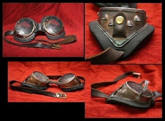 Darkwear Clothing Copper Brass Mad Scientist Steampunk Goggles Leather Straps