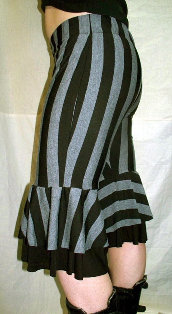 Darkwear Clothing Black and Grey Striped Circus Pants Capri Bloomers Tribal Fusion Steampunk -Small/Medium - Ready to ship