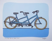 Custom for Keith - Framed - Bicycle Built for Two - A Purple Tandem Bike in the Transportation Series by Danielle J. Hurd