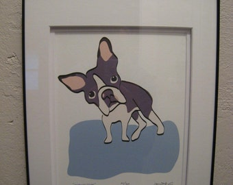 Framed Inquisitive a Boston Terrier in the Dog Series Limited Edition Signed Giclee
