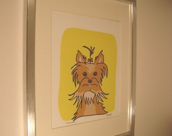 Framed and Signed Yorkshire Terrier Print called Delicate in the Dog Series
