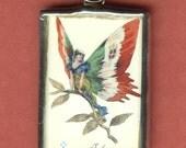 Vintage Italie Italy Italian Woman Butterfly Pendant