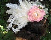 Pink Flower Ivory Feather Clip