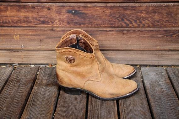 vintage womans cognac leather ankle cowboy boots size 7 eur 38
