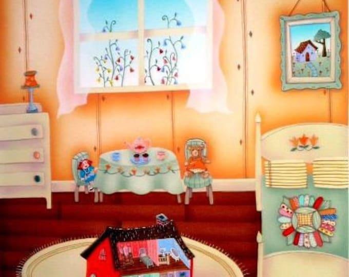 ART PRINT FRAMED Doll House Custom Framed 12in x 12in Art print by Valerie Walsh