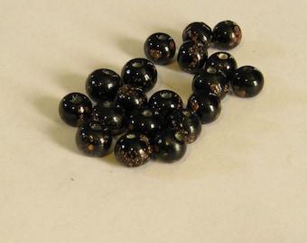 20, VINTAGE Black with Copper Aventurine Glitter beads TT