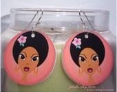 Big Eye Afro Girl Earrings Direct from Artist