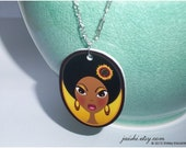 Big Eyed Afro Girl Art PENDANT - Chain Not Incuded