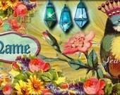 FaceBook TimeLine and Blog Banner Vintage Crowned Birds and Flowers OOAK by Sea Dream Studio