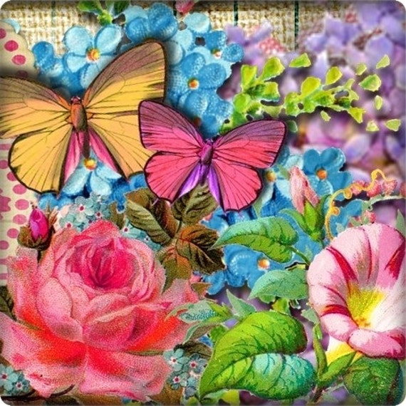 Beautiful Butterflies and Blooms Shop Banner and Avatar by Sea Dream Studio OOAK