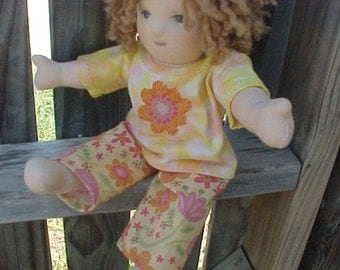 Hand dyed T-shirt with embroidered Flower and Floral Pants, Waldorf Doll Outfit