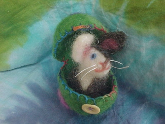 Ready to ship - Needle Felted Egg and Spotted  Bunny