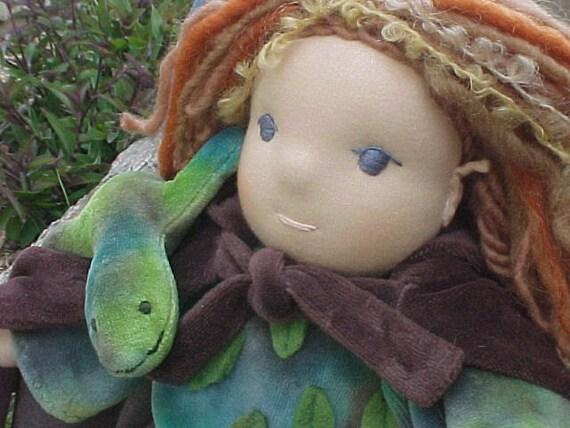 Waldorf Elf Doll  12  or 16 inch Custom with his Lizard Friend