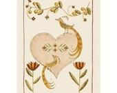 Folk art frameable greeting card print Paradiso