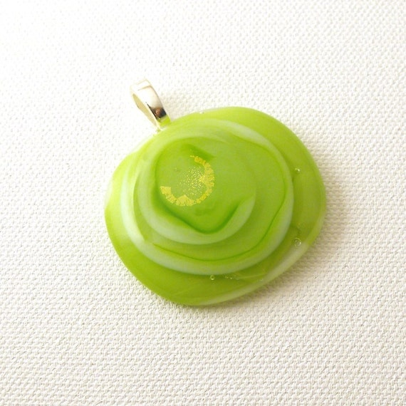 Layers of Lime Green Dichroic Fused Glass Pendant - Free Shipping