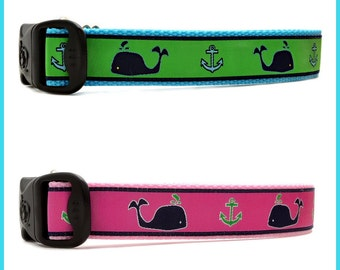 Classic Preppy Whale Nautical Anchor  Dog Collars