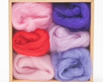 Fuchsia Wool Roving Color Set for Felting - Corriedale