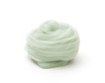 Mint Green Wool Roving for Felting - 1 oz. Corriedale