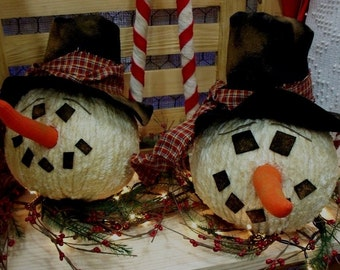 Primitive Old Style Country Chenille Snowman with Lights