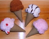 Choose your flavors Custom Made Set of 4 Chenille Ice Cream Cones