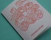 SALE - set of 5 ranunculus cards